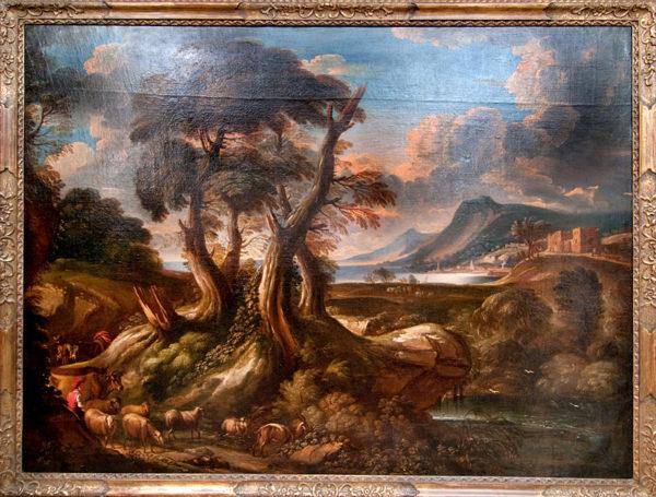 Dipinto raffigurante paesaggio con gregge Painting representig a landscape