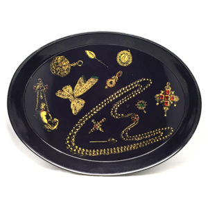 Vassoio metallo nero serigrafia oro gioielli Fornasetti tray originale design