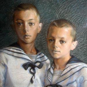 Dipinto a pastelli rafffigurante due bambini vestiti alla marinara